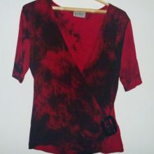 Блузка бордово-черная с пряжкой объявление продам
