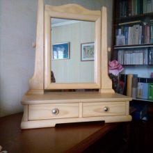Зеркало макияжное с шуфлядками. Натуральное дерево. Ручная работа объявление продам